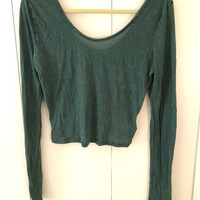 Urban Outfitters Thin Evergreen Long Sleeve Crop Top (Ecote)