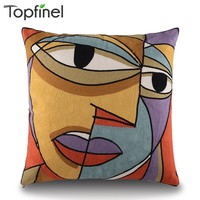 Top Finel Picasso Embroidered Decorative Throw Pillows Case Cotton Cushion Cover Creative Decoration for Sofa Car Covers 45cm