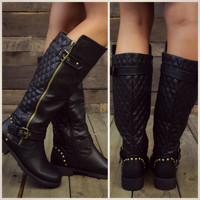 Roaslie Quilted Black Leather Riding Boots-OUT OF BOX