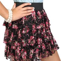 Floral Printed Lace Triple Tier Skirt