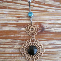 Belly Button Ring - Body Jewelry - Gold Dangly Charm with Lt Blue Gem Belly Button Ring