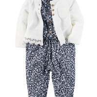 2-Piece Jumpsuit & Cardigan Set