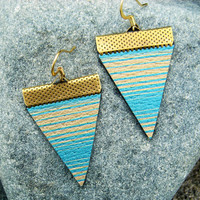 """Hand Made Artist Crafted Leather """"Baja Lines"""" Earrings in Tan/Turquoise"""
