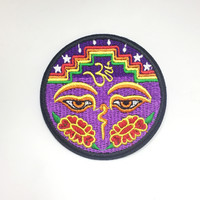 Purple Buddha Eyes Iron On Patch