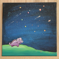 """Original Dinosaur Painting on 12"""" x 12"""" Canvas / Acrylic Painting for Kid's Room or Nursery / """"The Little Astronomer"""""""