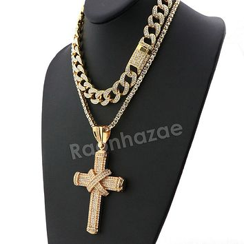 Hip Hop Quavo TIED CROSS Miami Cuban Choker Tennis Chain Necklace L22