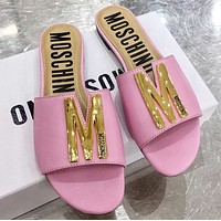 Moschino Spring summer letter flat bottom drag-3