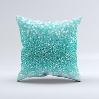 The Turquoise Unfocused Glimmer ink-Fuzed Decorative Throw Pillow