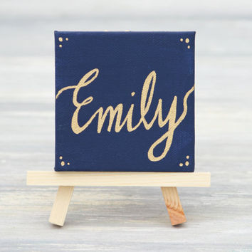 """Mini Canvas and Easel, Navy with Gold Name / Personalized Stocking Stuffer / Unique Place Card / 3"""" x 3"""" Canvas"""