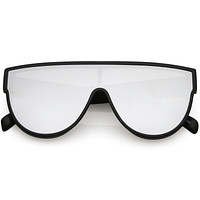 Retro Modern Infinity Mirrored Flat Lens Shield Sunglasses C558
