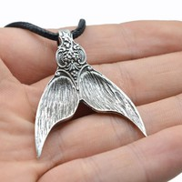 1pcs Mermaid Tail Pendant Necklace Handmade Charm Dolar De Sereia For Women Spirit Amulet Necklace Silver Spoon Jewelry Ct360