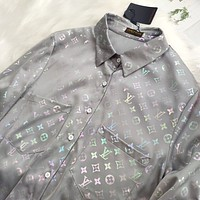 LV Fashion New Reflective Monogram Print Long Sleeve Top Shirt Gray