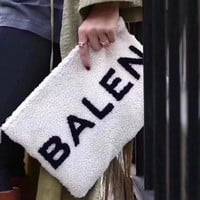 """Balenciaga"" simple casual wild fashion letters ladies zipper clutch F"