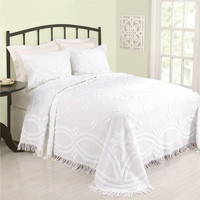 Full size 100% Cotton Bedspread with Floral Trellis Pattern and Fringe Border