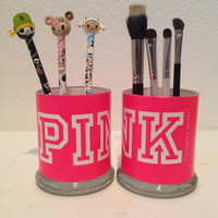 Victoria's Secret Pink inspired makeup brush holders
