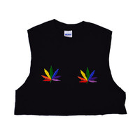 Rainbow Pot Leaf Crop Top Tank Shirt Hippie Soft Grunge Small Medium Black Cutoff Slouchy Oversize Pot Leaf Patch Embroidery