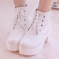 New Fashion Black&White Women Platform Heels Ankle Boots Thick Heel Platform Shoes Combat Boots