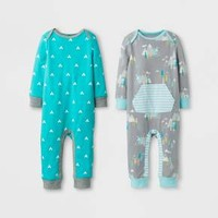 Baby Boys' 2pk Coverall Set Cloud Island™ - Blue/Gray
