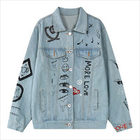Light Blue Eye Music Note Print Denim Jacket