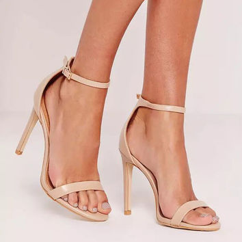 LALA IKAI Summer Trendy Metal Deco Nude Suede Thin Strap Sandals Women Ankle Strap Open Toe Sandals Concise Super High Heels -5