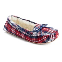 SO Women's Plaid Moccasin Slippers