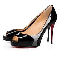 Cl Christian Louboutin New Very Prive Black Patent Leather 100mm Stiletto Heel