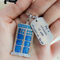 Doctor Who Tardis Keychain with Handstamped Quote - Dr Who, Geek, Accessory, Doctor Who Keychain, Geekery, TARDIS Keychain, Key Chain