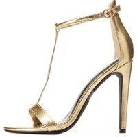 Textured Metallic T-Strap High Heels by Charlotte Russe