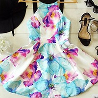 Imvation Women Summer Floral Sleeveless Backless Night Club Cocktail Party Dress