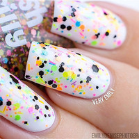 Trouble Maker- NEON-Custom-Blended Indie Glitter Nail Polish / Lacquer