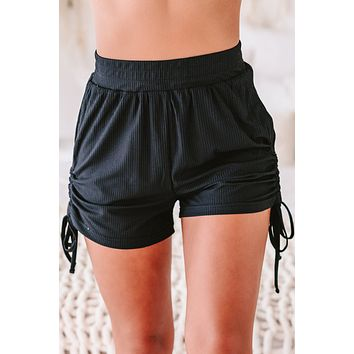 Kirsten Ribbed Side Ruched Lounge Shorts (Black)