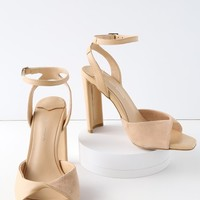 Shiloh Blush Leather Ankle Strap Heels