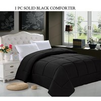 Celine Linen Goose Down Alternative 1pc SOLID Black Comforter -, Full/Queen, Black - Walmart.com