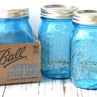 Blue Heritage Mason Jars / Ball 100 Anniversary Collectible set