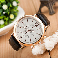 Mens Casual Black Leather Watch Casual Mountaineering Racing Sports Watches + Beautiful Gift