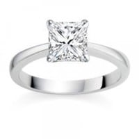 0.61 Carat D/IF Princess Certified Diamond Solitaire Engagement Ring in 18k White Gold