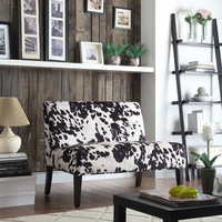 Easton Black Cow Hide Fabric 2-seater Accent Loveseat | Overstock.com