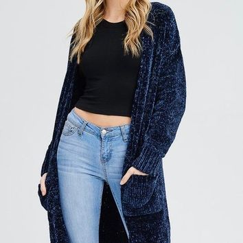 open front chenille cardigan duster in navy