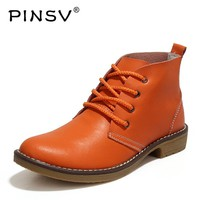 PINSV Autumn Women Boots Genuine Leather Ankle Boots For Women Shoes High Top Cowboy Ladies Boots Zapatos Mujer Bota Size 35-42