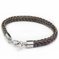 Awesome Gift New Arrival Great Deal Stylish Shiny Hot Sale Titanium Cross Rack Leather Stainless Steel Ring Black Accessory Bracelet [6542302915]