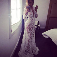 Lace Evening Party Dresses Gown Formal Long Maxi Dress