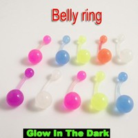 5pcs/lot Mix Color Flexible Glow in the dark Belly Ring press fit body piercing jewelry Soft Belly Button Ring Navel rings