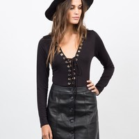 Lace-Up Rayon Bodysuit