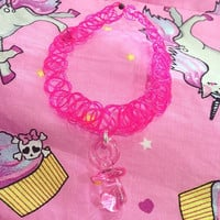 Pink Pacifier 90's Tattoo Choker