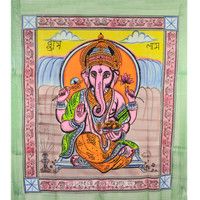 Colorful Hand Brush Ganesha Tapestry Wall Hanging on RoyalFurnish.com