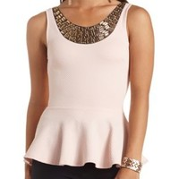 Gem Necklace Textured Peplum Top by Charlotte Russe - Blush