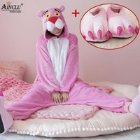 Cool Cute Pink Panther Woman Onesuit Hooded Cosplay Onesuits With Shoes For Adult Kids One-Piece Animal Pajamas Long Sleeve SleepwearAT_93_12