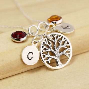 Mothers Necklace - Family Tree of Life Necklace - Mothers Initial Necklace - Family Tree Necklace - Initial and Birthstone Necklace