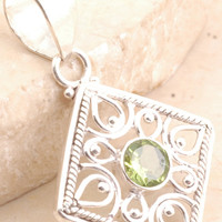 Massive Pendent in 925 Sterling Silver Peridot