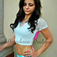 THE SHORTY LACE WHITE CROP TOP